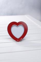Fototapeta Czerwone serce ramka na białym tle obraz