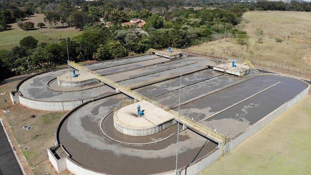 Estação de tratamento de água created by dji camera