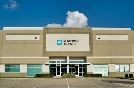 Houston, Texas USA 10-06-2019: Maersk Training Center in Houston, TX. Used to train teams of drilling workers with simulators to deal with real life problems that may arise. Maersk was est. in 1962.