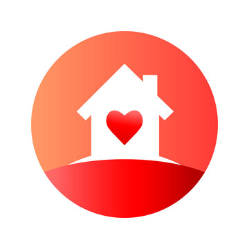 House with heart concept. Home silhouette inside circle icon or logo with heart in gradient red color. Vector illustration isolated on white background.