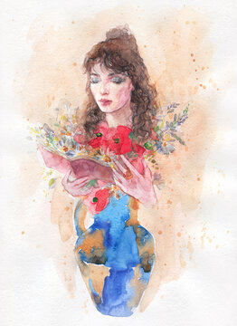 watercolor painting. fantasy female portrait. illustration.