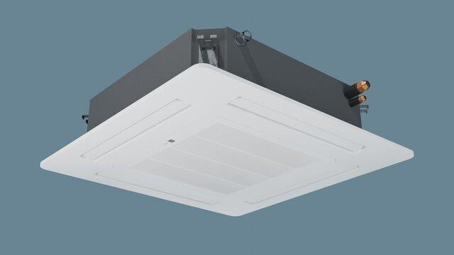Cassette air conditioner ceiling recessed. 3d render