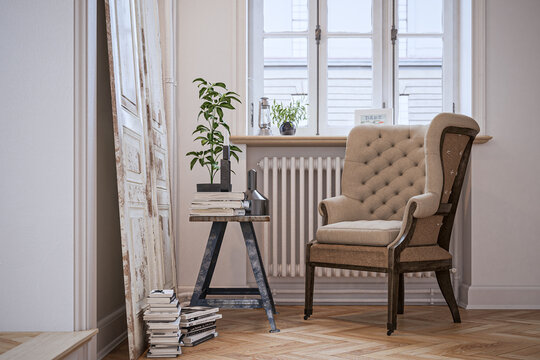 reading corner in old downtown vintage apartment