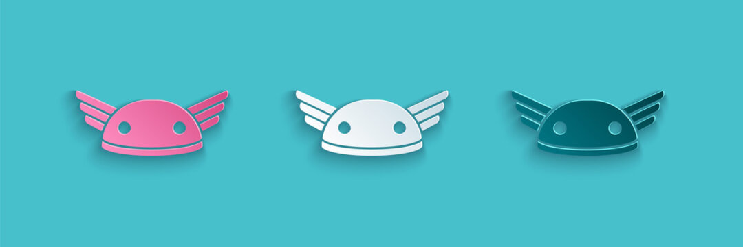 Paper cut Helmet with wings icon isolated on blue background. Greek god Hermes. Paper art style. Vector.
