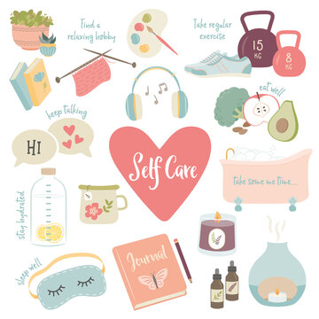 Self care, well being, wellness, mental health concept, icons, collection. Home relaxation, drinking lemon water, exercise, aromatherapy, eat well, beauty rituals, journalling, sleep well, hobbies