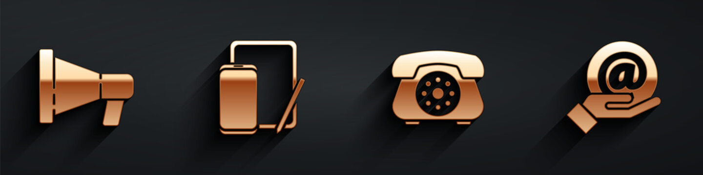 Set Megaphone, Phone and graphic tablet, Telephone and Mail and e-mail in hand icon with long shadow. Vector.