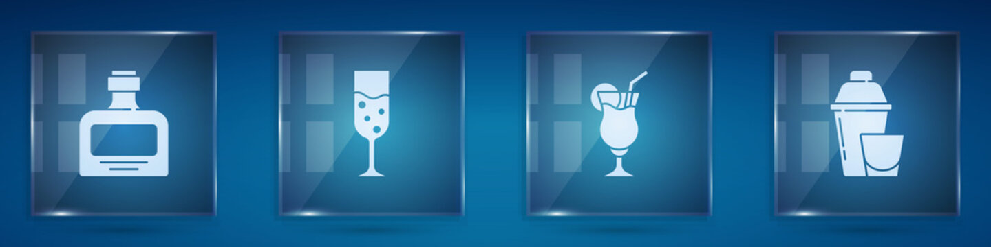 Set Whiskey bottle, Glass of champagne, Cocktail and shaker. Square glass panels. Vector.