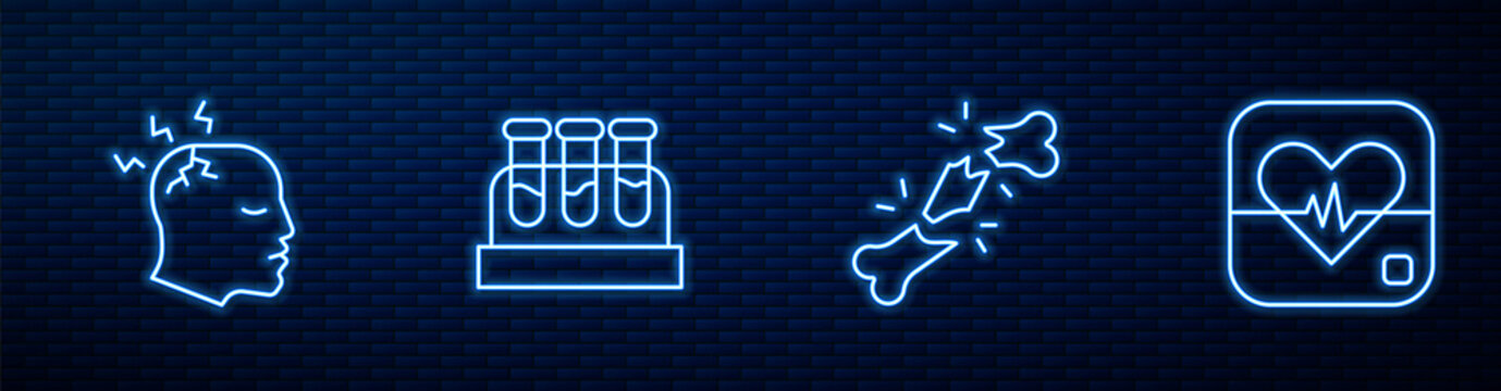 Set line Human broken bone, Man having headache, Test tube with blood and Heart rate. Glowing neon icon on brick wall. Vector.