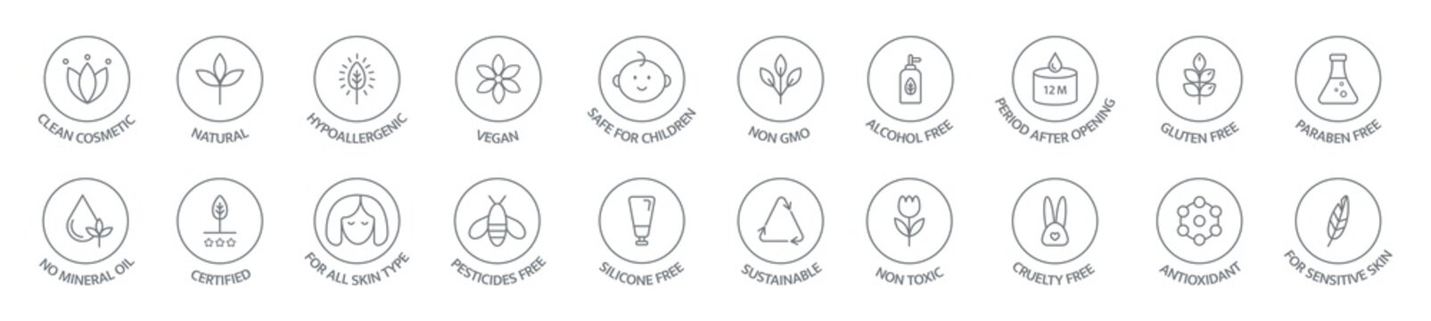 Organic and natural cosmetic line icon collection. Vegan, bio food. Organic products badges. Clean cosmetic, non toxic, hypoallergenic, safe for children. GMO free emblems. Vector illustration