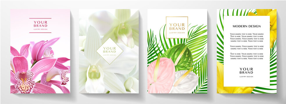 Tropical cover and frame page design set with asian orchid, authurium, lily flower bouquet. Exotic background pattern useful for wedding, menu, summer holiday poster