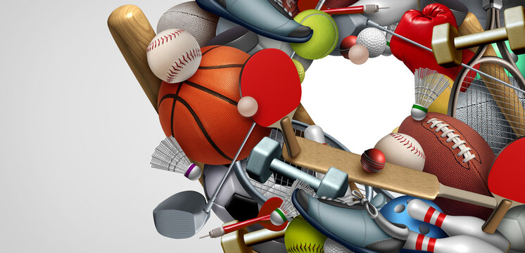 Love of Sports equipment background with a football basketball baseball soccer tennis and golf ball including ping pong tennis hockey puck as healthy recreation including copy space shaped as a heart