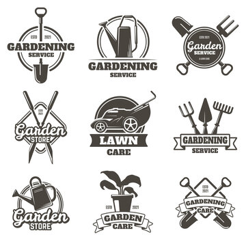 Gardening emblems. Vintage gardening, lawn care, groundwork and landscaping badges. Garden work labels isolated vector illustration set. Gardening service, company logo collection