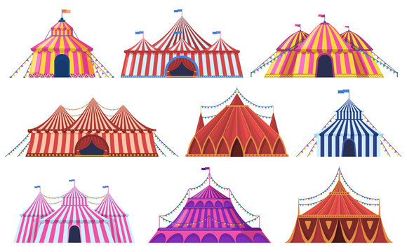 Circus tent. Amusement park vintage carnival circus tent with flags, amusement attraction. Circus entertainment tents vector illustration set. Marquee striped dome, recreation entertainment festive
