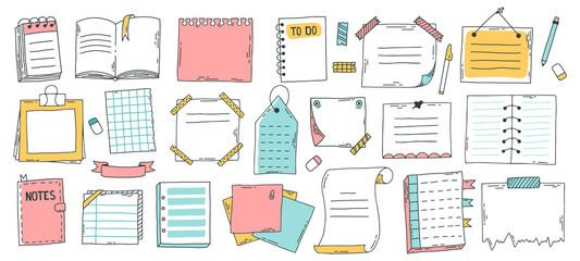 Obraz Doodle paper sheet. Hand drawn sketch notebook, bullet journal sheets, sticky note and notepad page. Sketch doodle sheets vector illustration set. Notebook information, reminder message bullet - fototapety do salonu