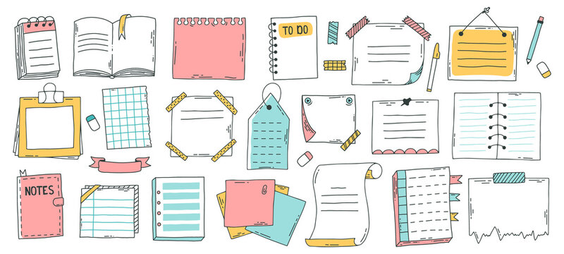 Doodle paper sheet. Hand drawn sketch notebook, bullet journal sheets, sticky note and notepad page. Sketch doodle sheets vector illustration set. Notebook information, reminder message bullet