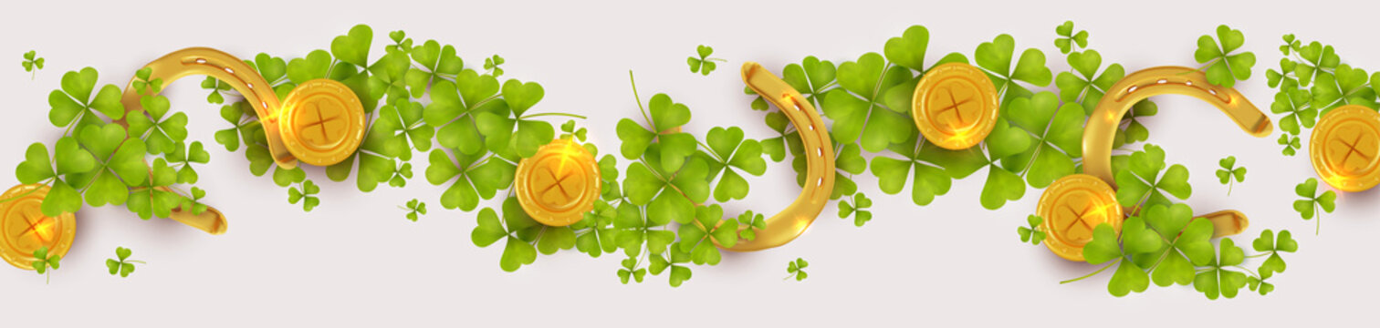 St. Patrick's day horizontal banner background with green shamrock leaves, gold coins and horseshoes. Element design. Realistic vector illustration. Isolated on white background.