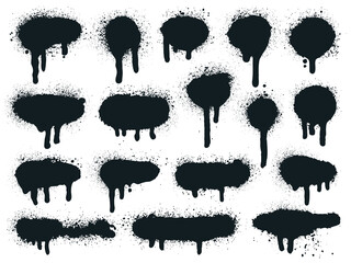 Painted spray elements. Grunge graffiti painted borders and shapes, dirty splatter street art strokes. Spray textured black lines vector illustration set. Spray graffiti dirty, spot grunge splattered