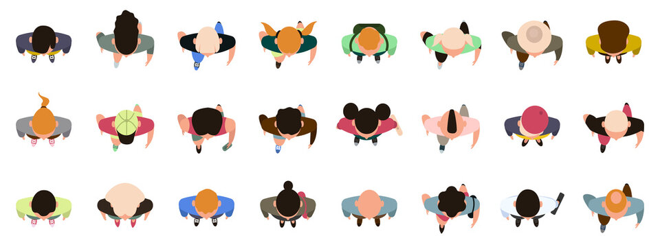 People top view. Male and female characters view from above, walking, standing men and women. Top view people poses vector illustration set. Male and female people top view