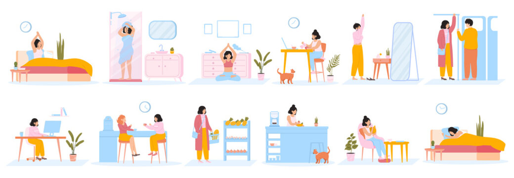 Daily women routine. Everyday woman work leisure activities, female daily life. Girl everyday schedule activities vector illustration set. Work daily leisure character, activity life everyday
