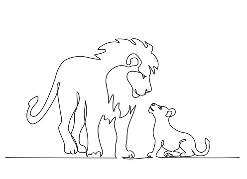 Lion standing with small lion cub. Continuous one line drawing.
