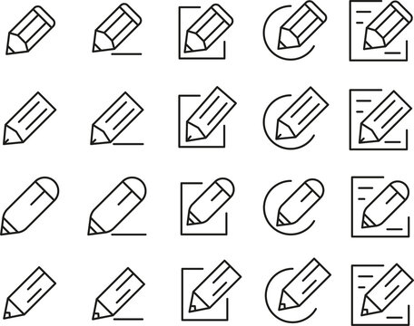Set of Outline Vector Icons Edit Register Subscription Subscribe