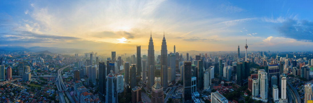 Aerial Panoramic View Of Sunrise At Kuala Lumpur City Skyline