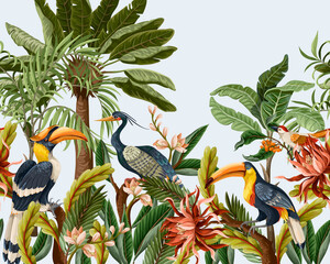 Border with birds and tropical leaves and flowers for interior. Vector.