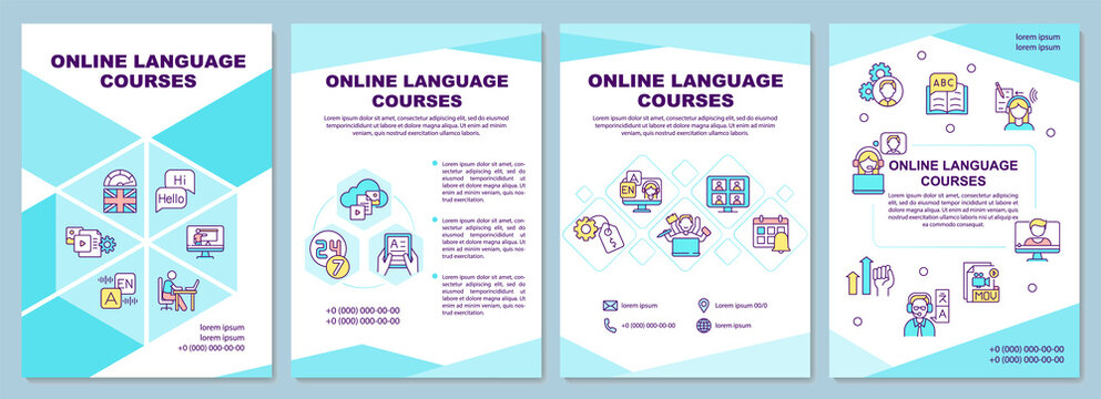 Online language courses brochure template. Special information. Flyer, booklet, leaflet print, cover design with linear icons. Vector layouts for magazines, annual reports, advertising posters