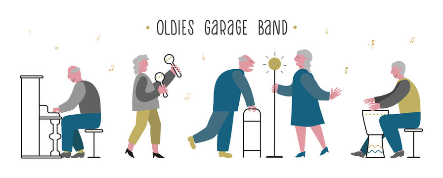 Elderlies, seniors sing and play in a band. Couple sings with enthusiasm. Oldies mens piano, drum play. Lady maracas plays. Concept vector illustration for nursing home banner, web, club.