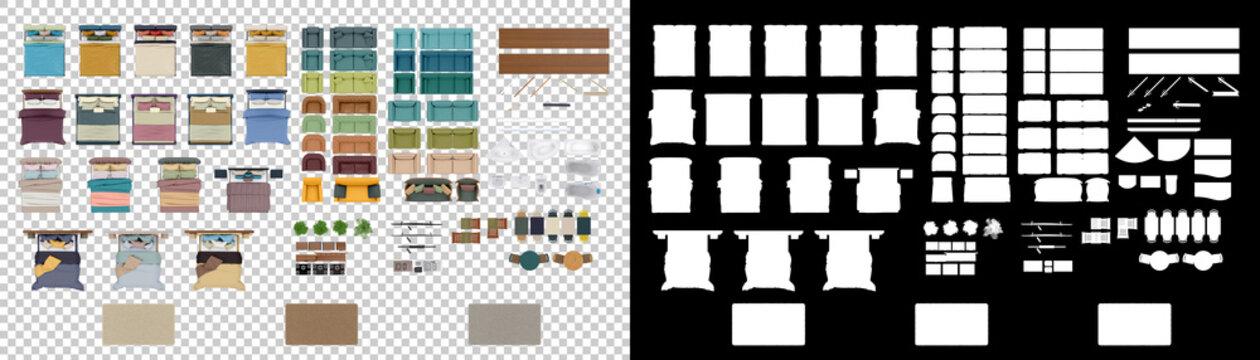 Master floorplan set isolated background with mask. 3d rendering - illustration