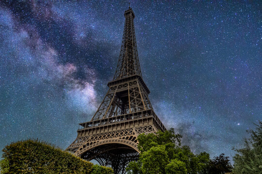 Eiffel Tower composite with Mily Way background