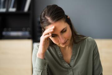 Bored Unhappy Sad Young Woman With Headache