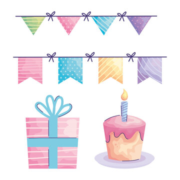 happy birthday garlands hanging and icons acuarela style vector illustration design