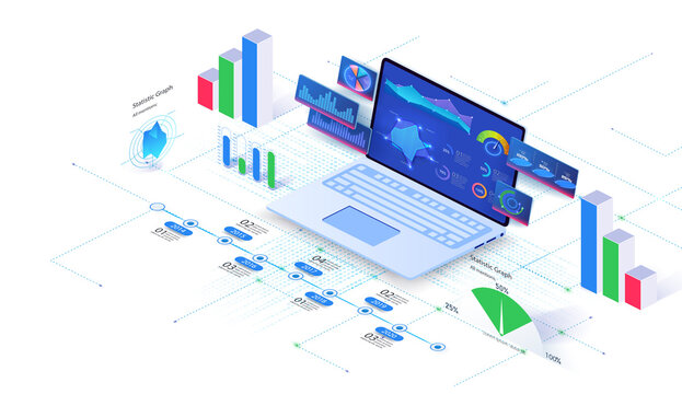 Application UX Financial analytic and Business Infographic elements on screen laptop. Budget accounting or statistics concept. Analysis trends and financial strategy by using infographic chart. Vector