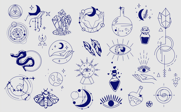 Esoteric element collection. Doodle esoteric, boho mystical hand drawn elements. Magic and witchcraft, witch esoteric alchemy. Vector
