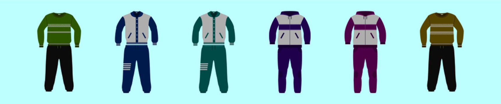 set of sweat pant cartoon icon design template with various models. vector illustration isolated on blue background