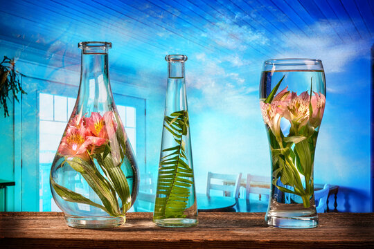 Cut flowers and tropical plants in a glass of water on a barn wood table