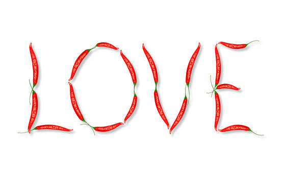 Word LOVE made from red hot chili peppers