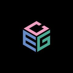 Obraz Hexagon logo with CEG lettering design - fototapety do salonu
