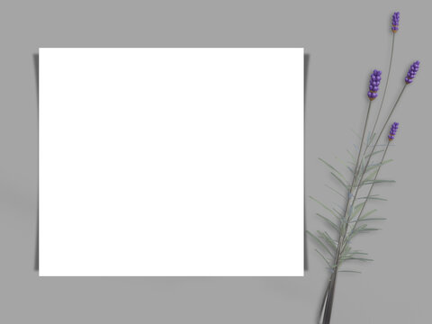 Invitation with a sprig of lavender.