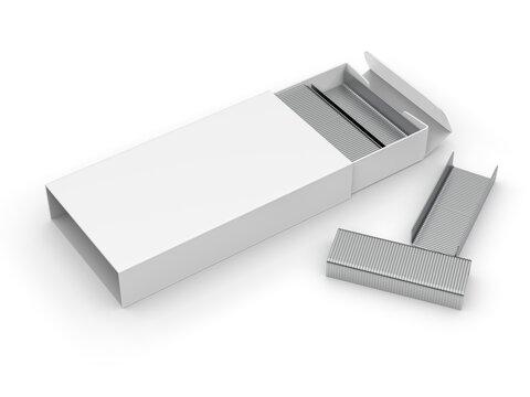 Blank Staples paper box packaging mockup, 3d render illustration.