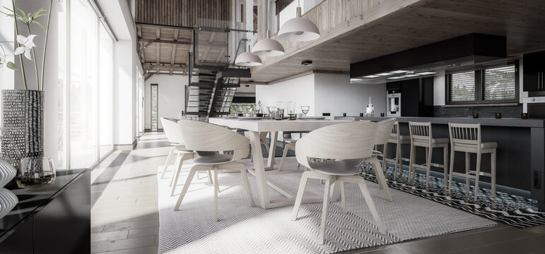 Modern Residential Loft with Dining Room & Kitchen - panoramic black and white 3d visualization