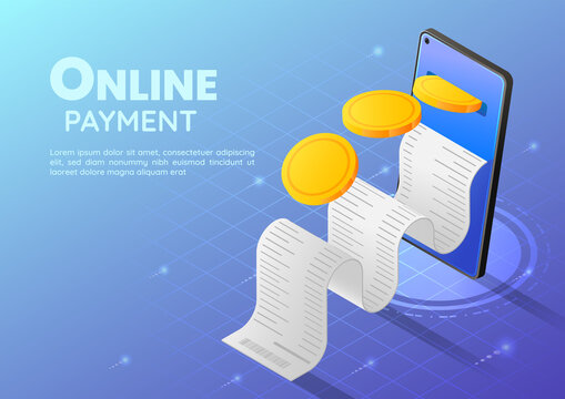Isometric Web Banner Gold Coin Going into Smartphone with Receipt