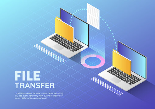 Isometric web banner Two Laptop Transfer Files and Organize Folder