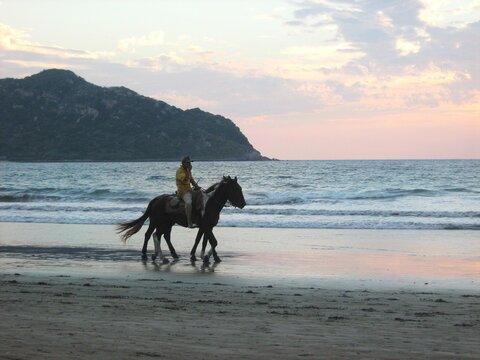 Man Riding Horse On Beach Against Sunset Sky