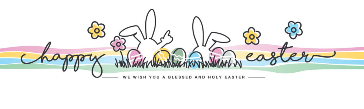 Happy Easter we wish you a holy and blessed Easter handwritten typography lettering line design bunny colorful flowers and eggs in grass greeting card