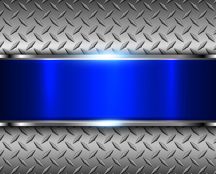 Technology metal background, 3D elegant shiny metallic design with diamond plate pattern, and blue glossy banner, vector illustration.