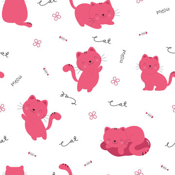 Cute cat seamless pattern with hand-drawn word