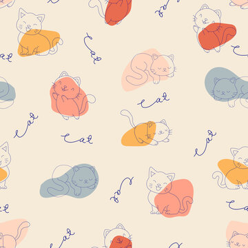Seamless pattern of hand-drawn cat and abstract shape.