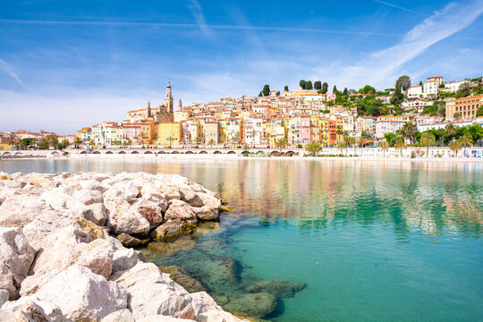 colorful town Menton on cote d'azur in south France